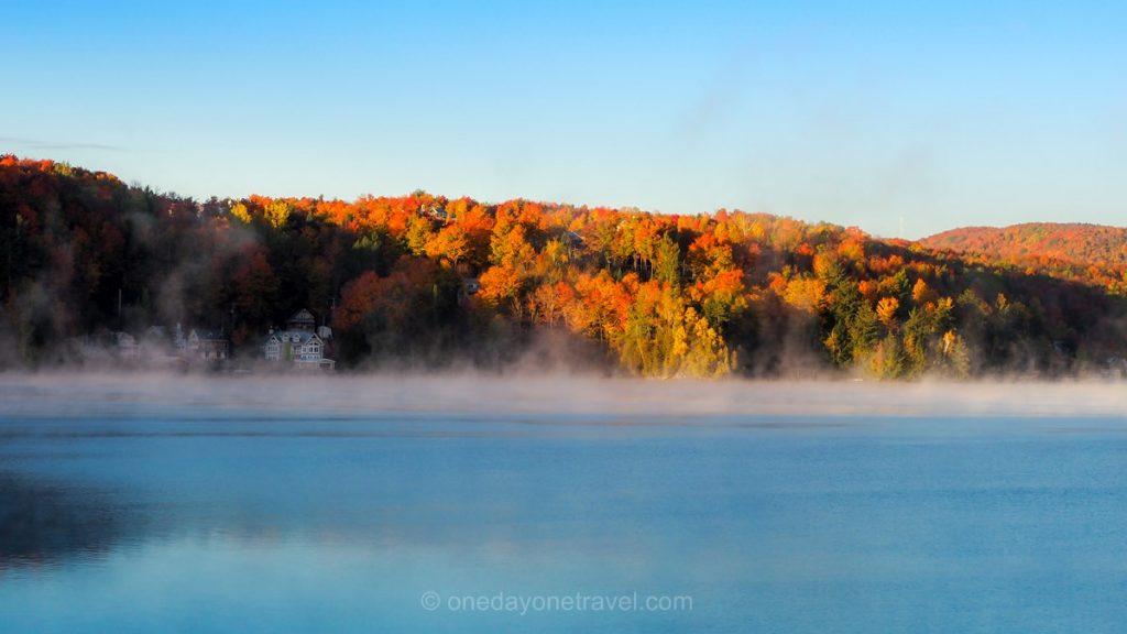 Cantons de l'est brume matin lac automne