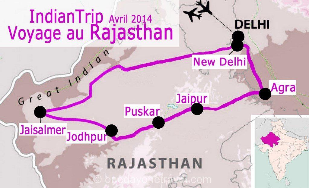 Carte Inde Rajasthan blog voyage