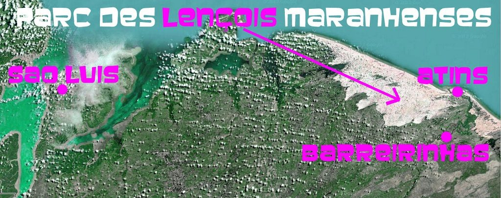Carte parc lencois Maranhenses bresil sao luis