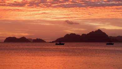 El Nido sunset plage Corong Corong Philippines
