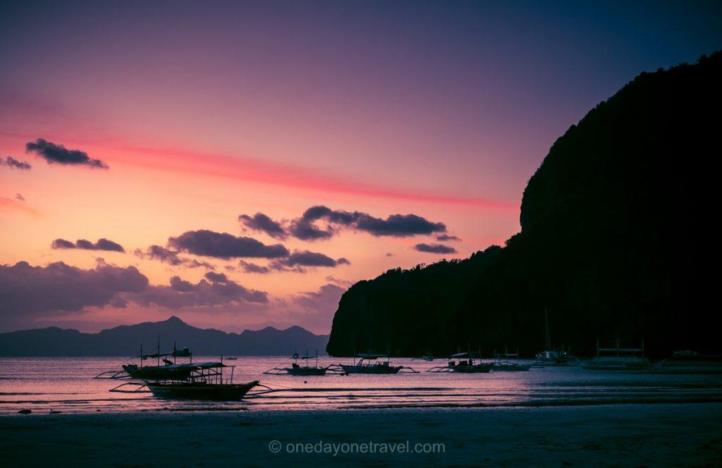 El Nido sunset coucher de soleil aux Philippines