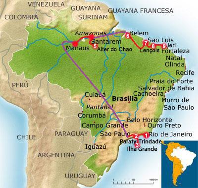 Carte Du Bresil Nordeste.Itineraire Au Bresil Un Voyage De Reve En 9 Etapes
