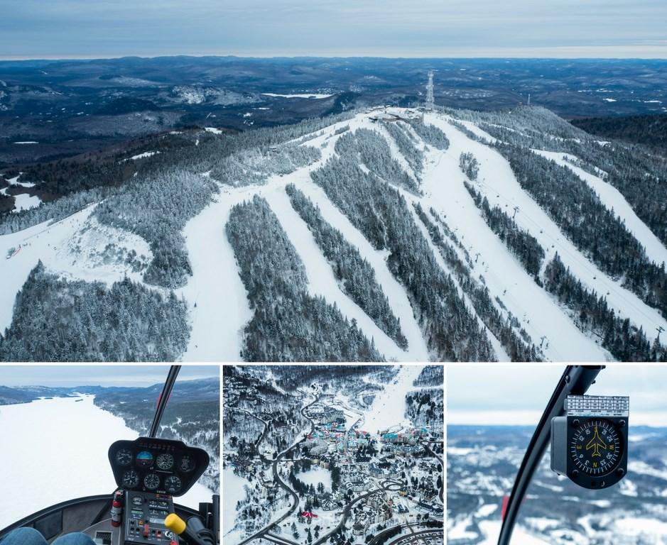 Les laurentides en hiver helicoptere survol mont tremblant heli tremblant blog voyage quebec