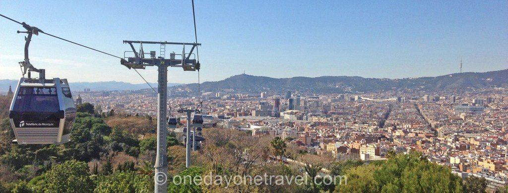 Montjuic barcelone blog voyage vue téléphérique