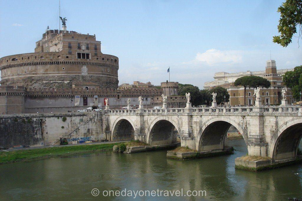 Vue sur le pont Saint-Ange à Rome
