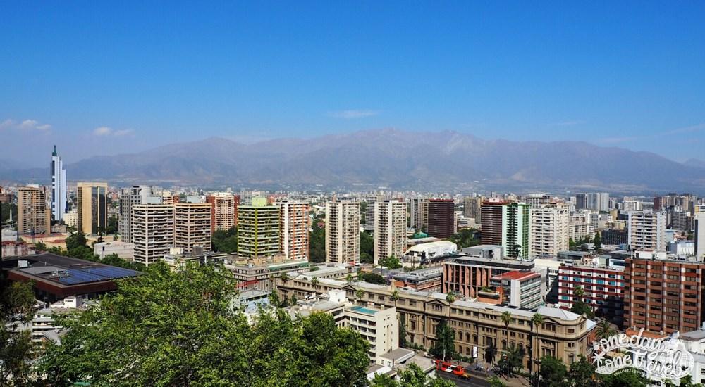 Santiago du chili vue quartier lastarria vue colline santa lucia