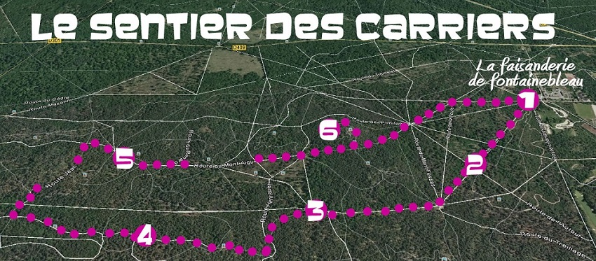 Sentiers des carriers Fontainebleau carte