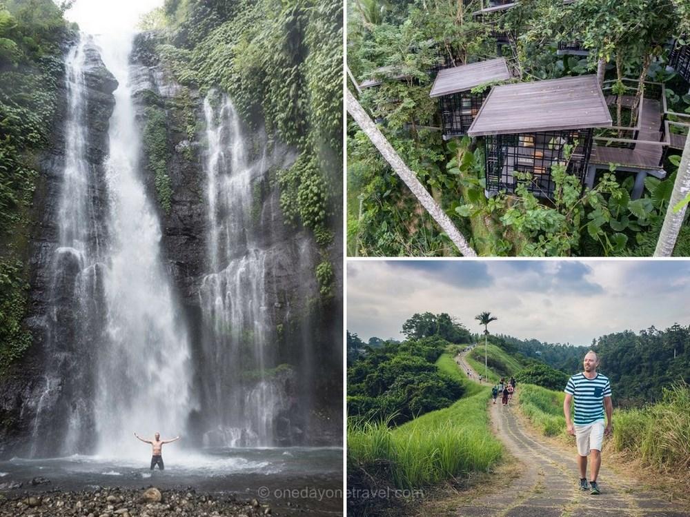 À gauche : Cascade près d'Ubud - En haut à droite l'Hoshinoya resort et ses nids pour le thé - En bas à droite : Randonnée sur la crête de Campuhan