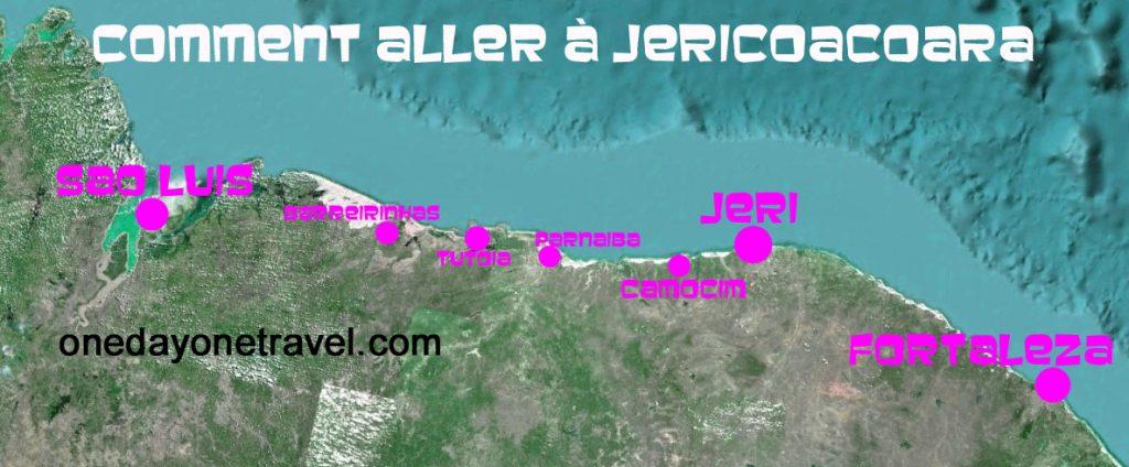 carte sao luis jericoacoara fortaleza trajet transport map