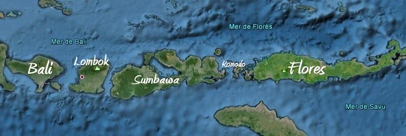 Carte iles de la Sonde en Indonésie