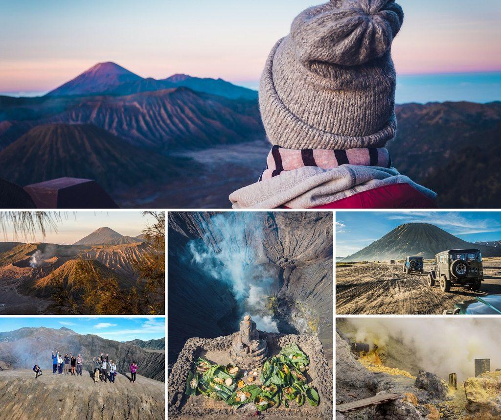 volcans de Java lever de soleil
