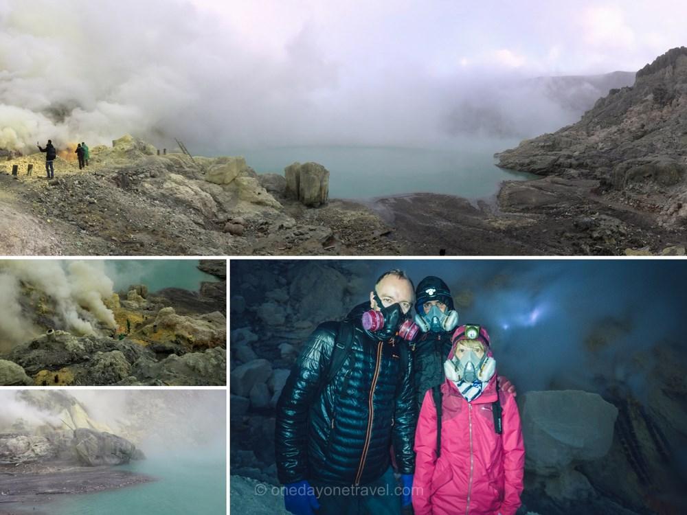 volcans de kawah ijen flemme bleue et lac vert