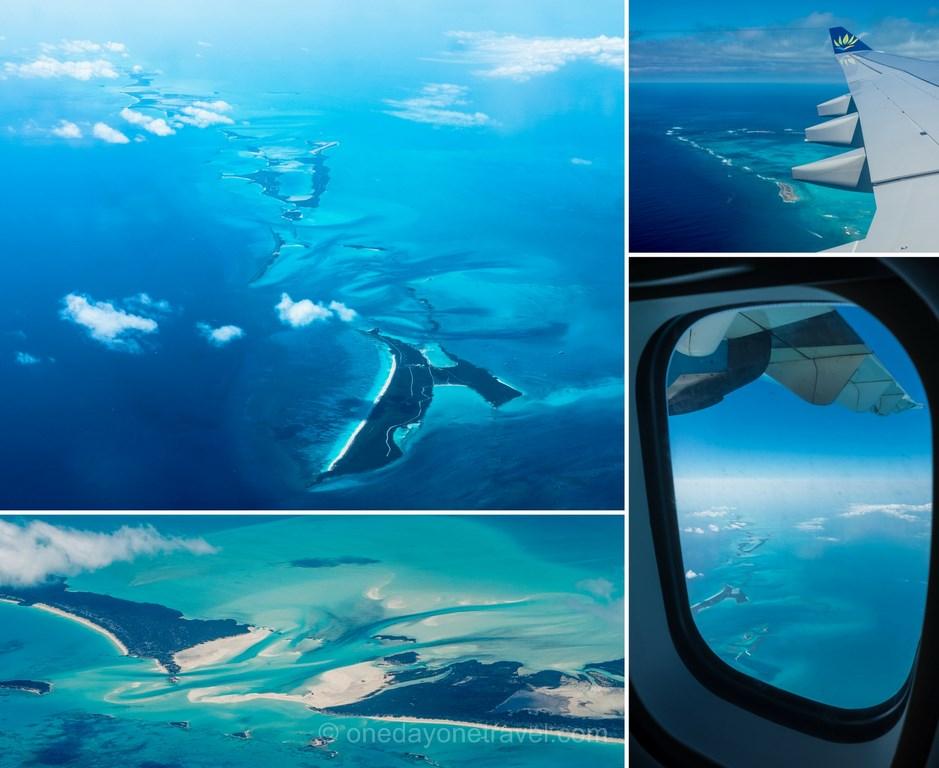 voyage aux bahamas vue avion