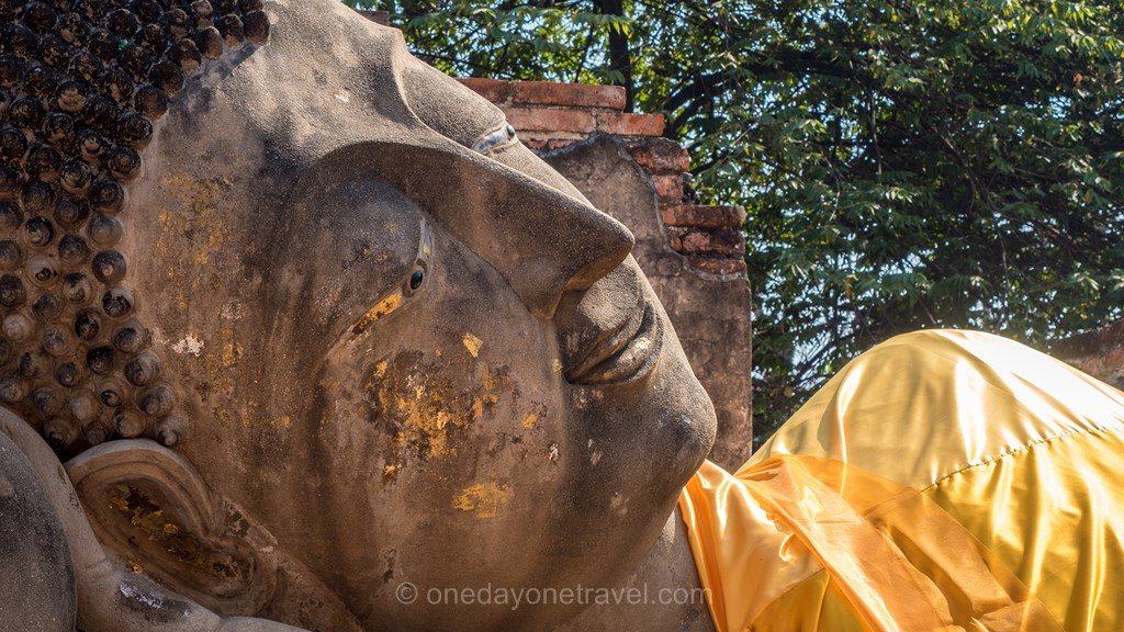 Ayutthaya bouddha couché temple
