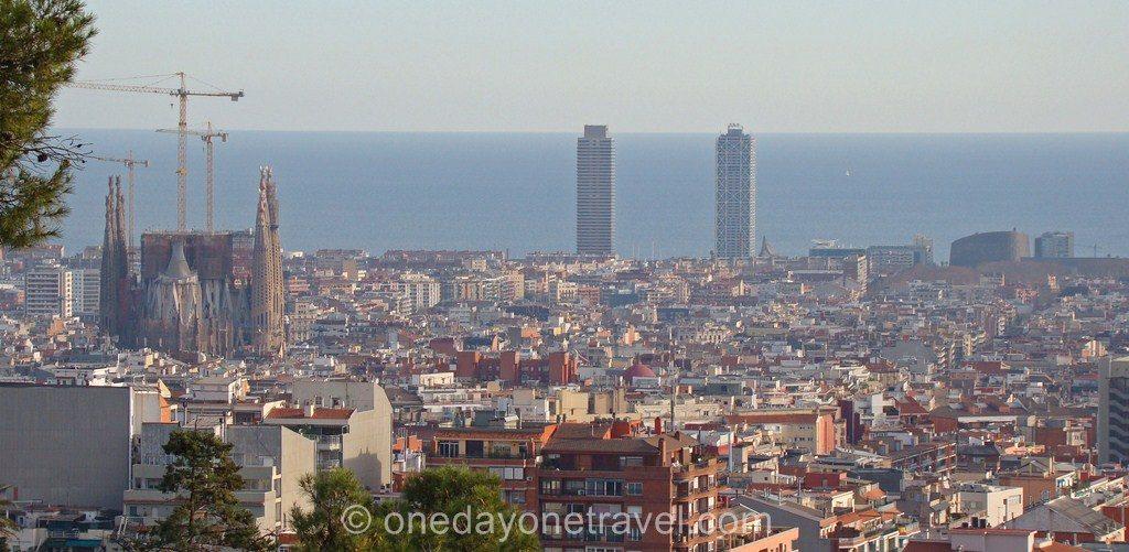 Port Olympique Barcelone vue depuis colline