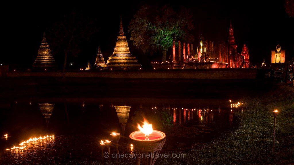 Sukhothai temple de nuit