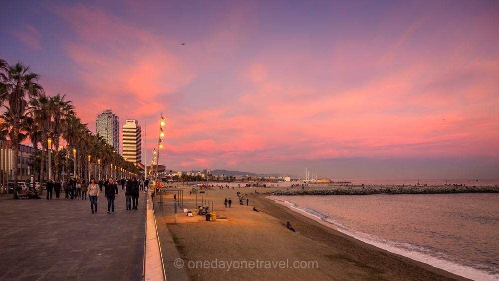 Visiter Barcelone pour la première fois port olympique sunset
