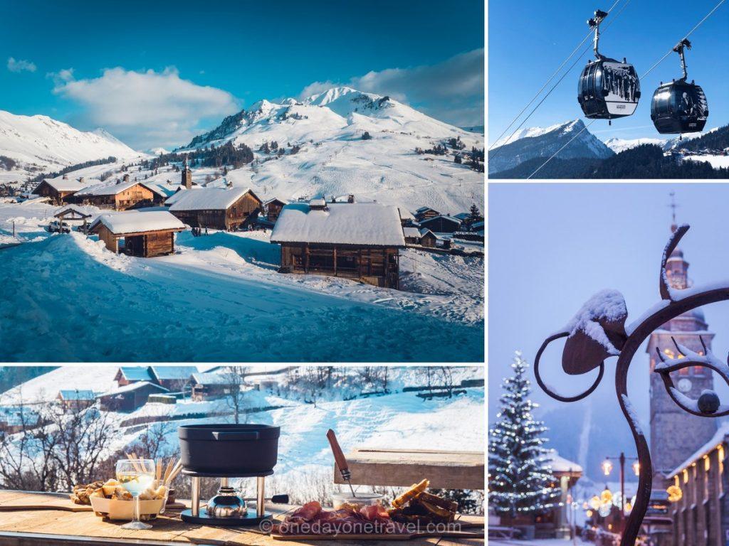 Multi photos de la station du Grand-Bornand en hiver entre neige, ski, spécialités savoyardes et art vache.