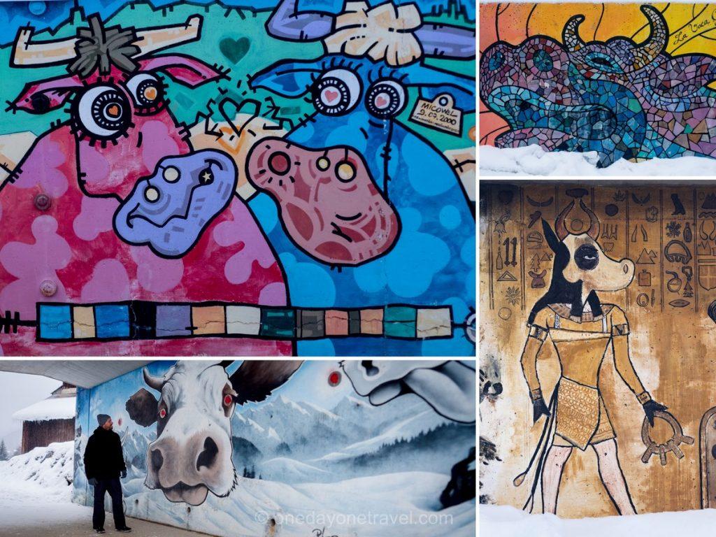 L'Art Vache e'affiche partout au Grand-Bornand avec des murales dédiées à la vache dans la station.