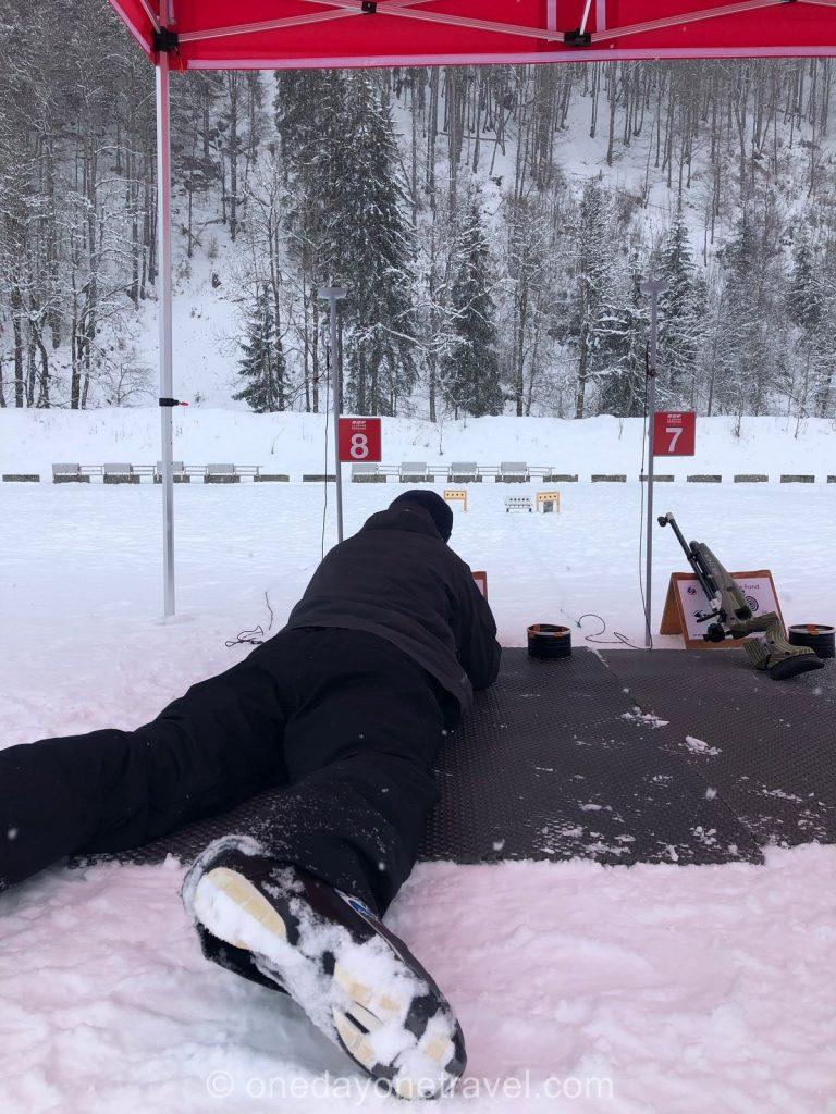 Cours de biathlon au Grand-Bornand - Tir à la carabine