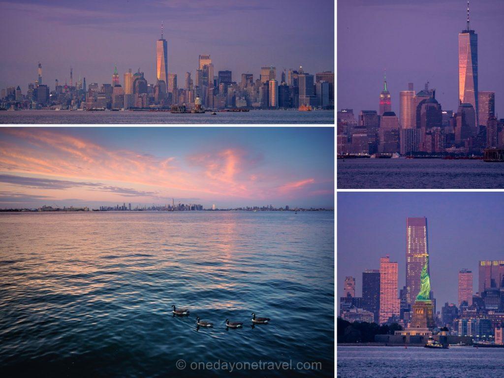 Skyline de New York au coucher du soleil depuis le ferry gratuit de Staten island