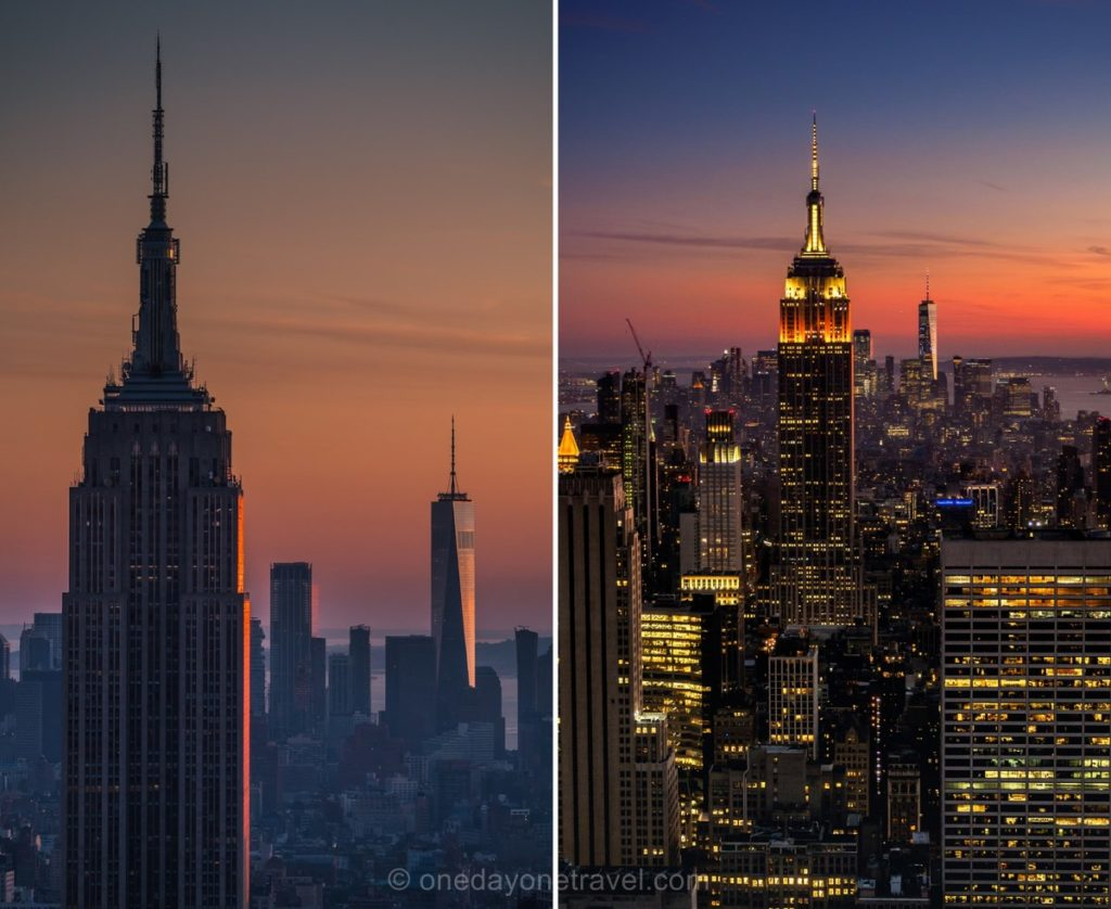 Vue sur l'Empire State building et New York de nuit depuis le Top of the Rock