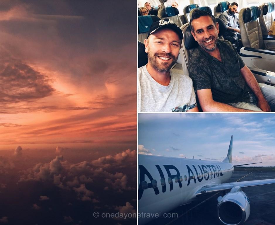 Richard et Franck dans l'avion pour l'île Maurice