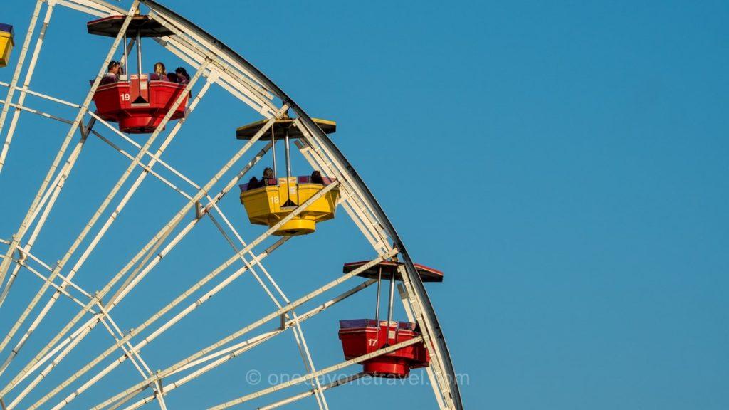 Détail sur la grande roue de la jetée de Santa Monica à Los Angeles
