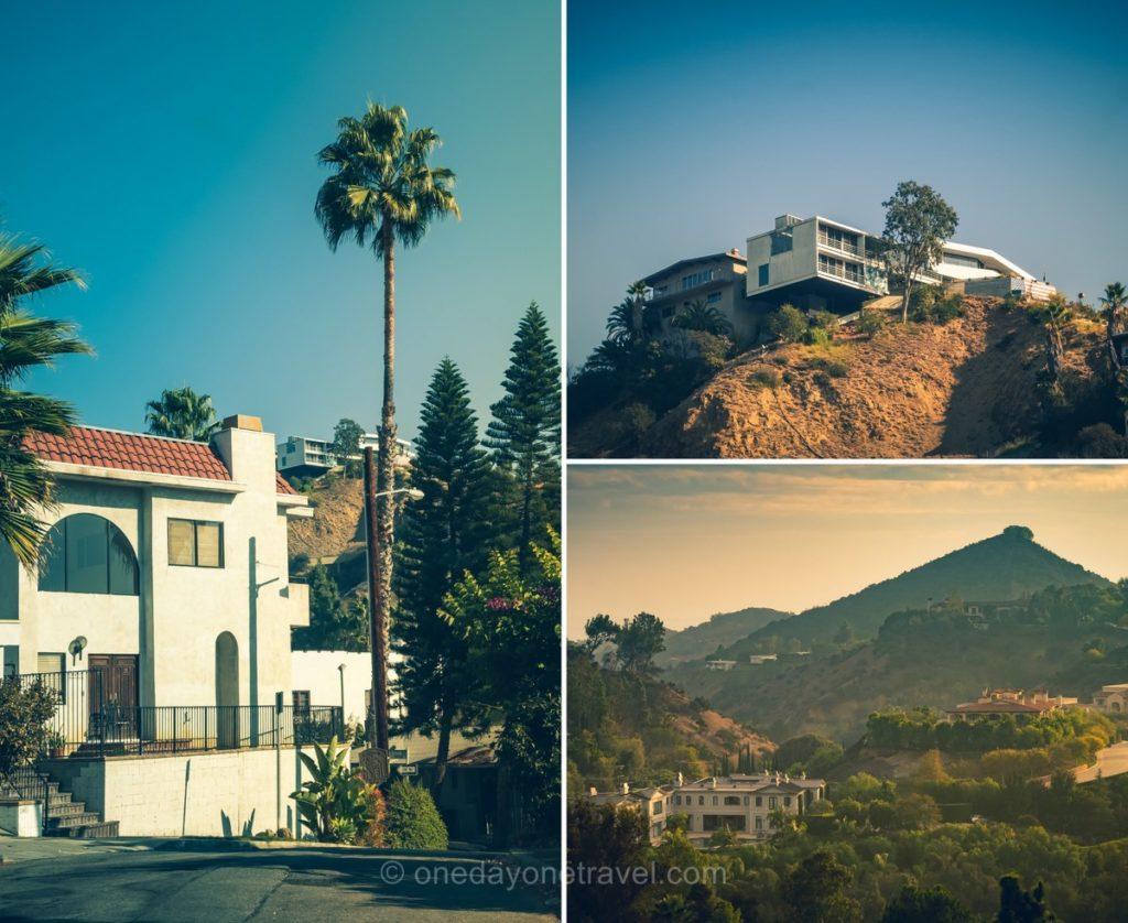 Villas de luxe que l'on voit depuis la route scénique de Mulholland drive à Los Angeles