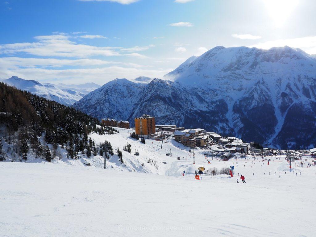 Station d'Orcières depuis les pistes de ski