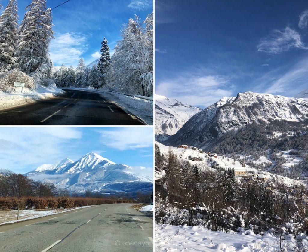 Route qui mène à la station de sports d'hiver d'Orcières dans les Hautes-Alpes