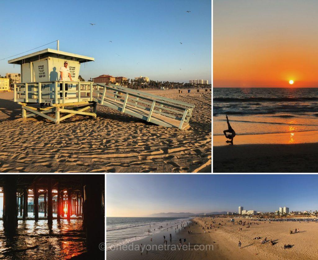 Plage de State beach à Santa Monica au coucher du soleil - Visiter Los Angeles