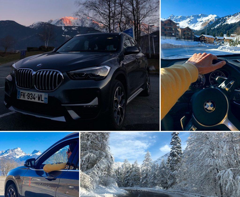 Sur la route vers Verbier en voiture de location BMW X1 depuis l'agence Sixt de Grenoble gare