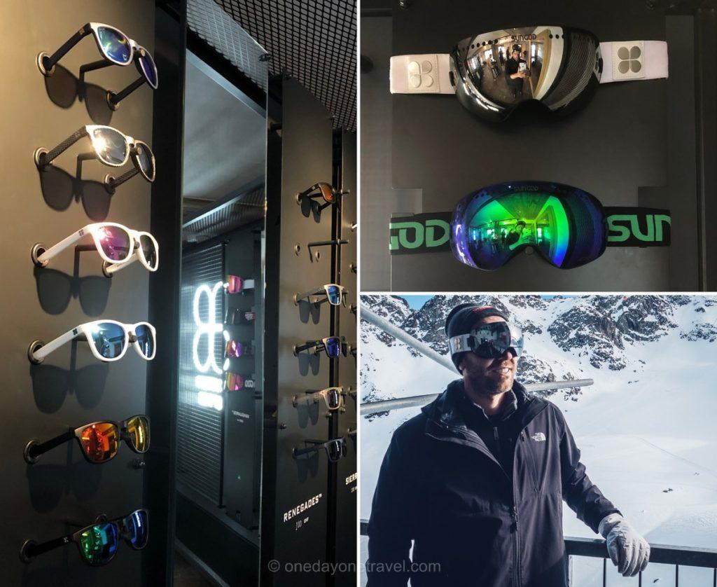 Magasin Sungod à Verbier pour lunettes et masques de ski personnalisables