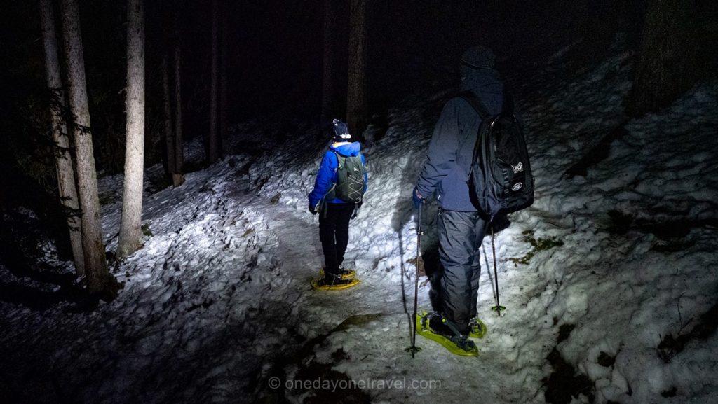 Randonnée nocturne en raquettes à neige à Verbier en Suisse