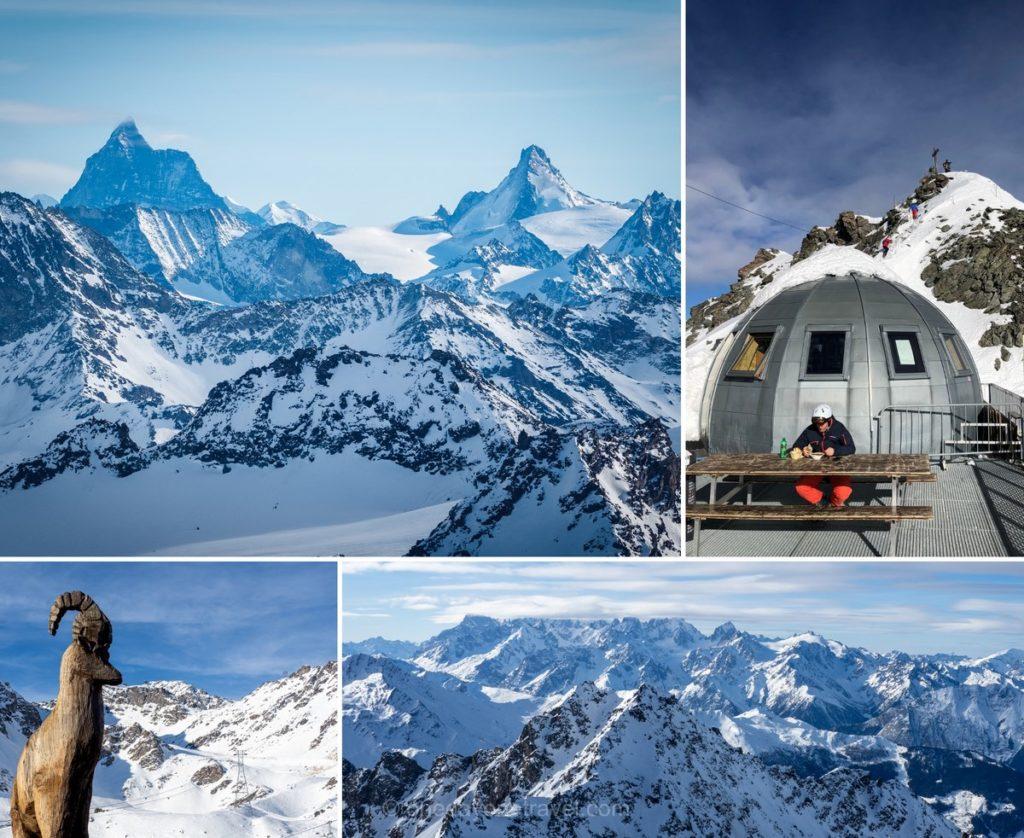 Vue sur les sommets enneigés des Alpes depuis le mont-Fort