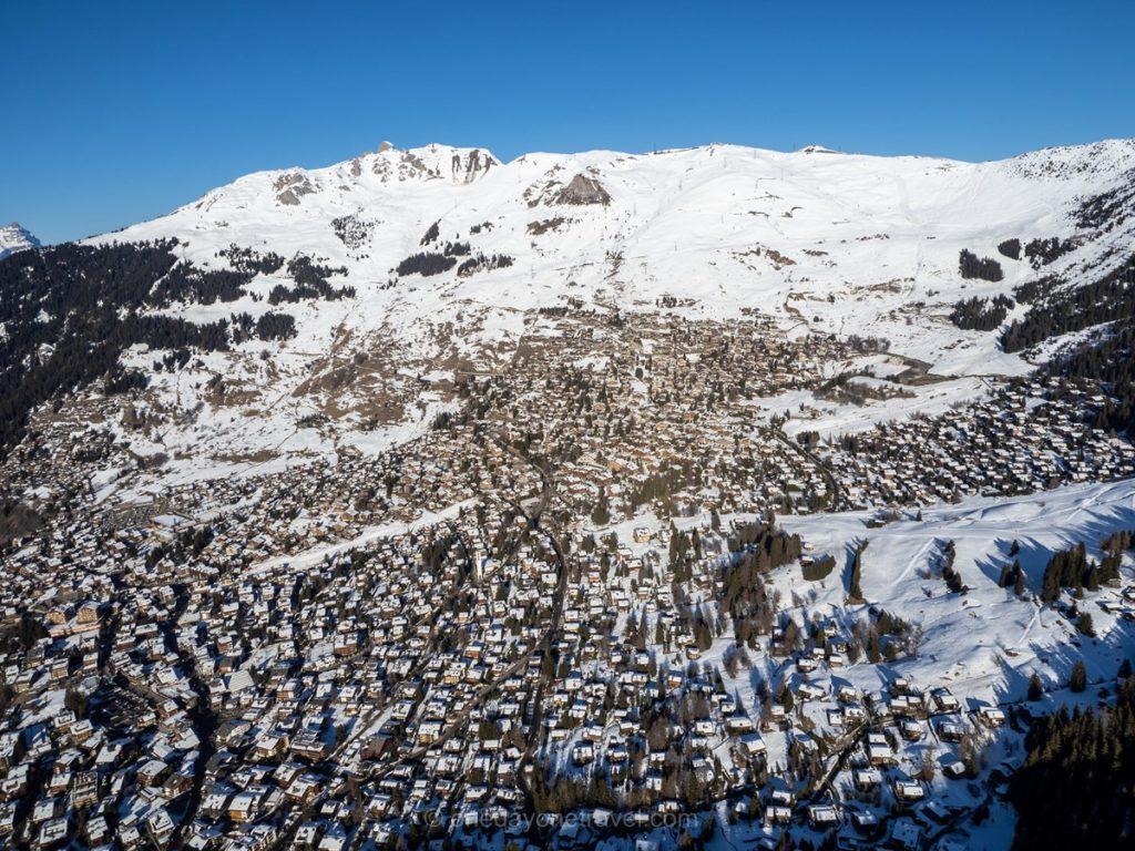Station de sport d'hiver du Verbier vue du ciel