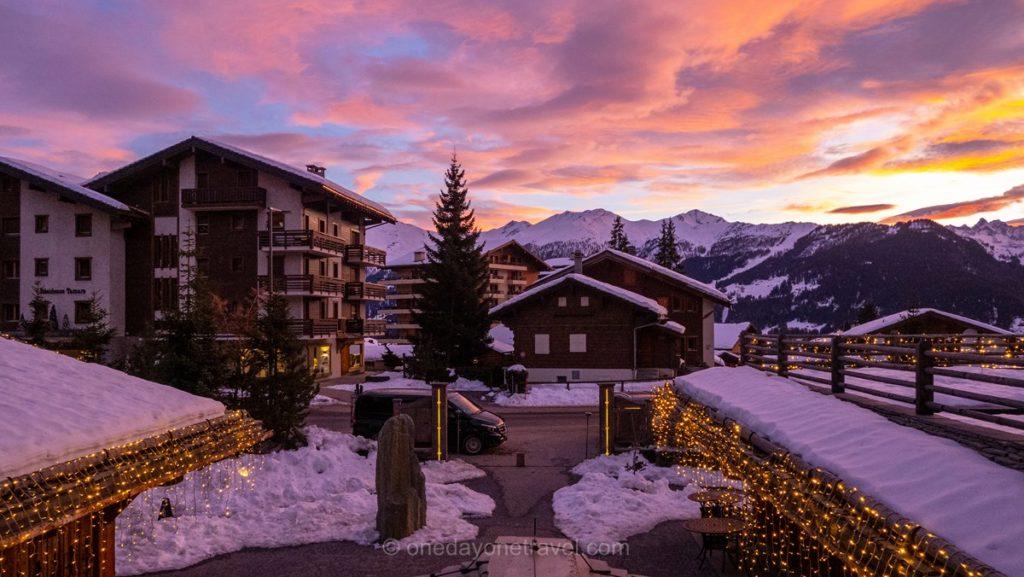 Vue depuis notre chambre de l'hôtel de La Cordée des Alpes à Verbier