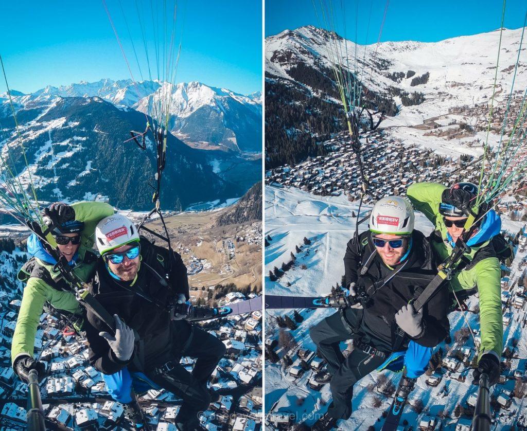 Survol de la station de sport d'hiver de Verbier en Suisse