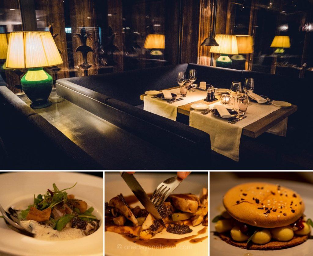 Plats et salle du restaurant La Cordée à Verbier