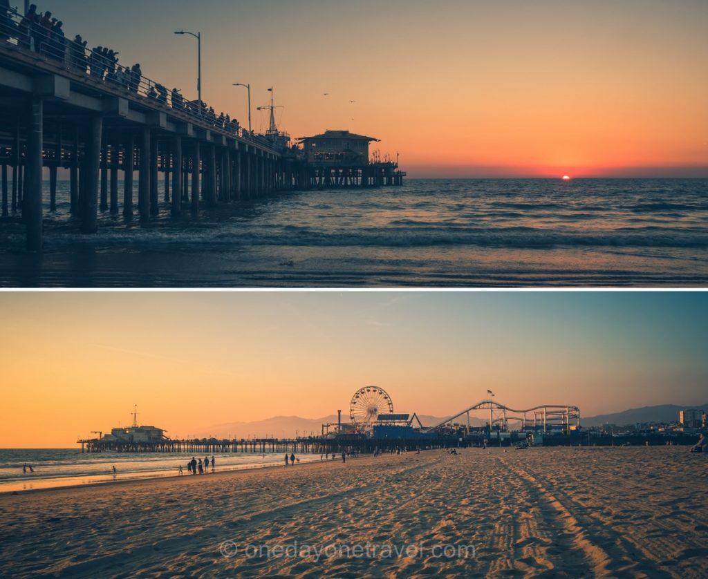 Coucher de soleil sur la plage de Santa Monica Pier - Visiter Los Angeles