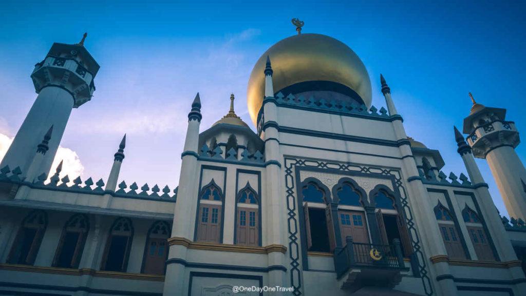 Singapour Kampong Glam mosquée ciel bleu