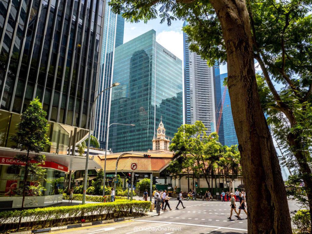 Singapour quartier affaire marché couvert Lau Pa Sat