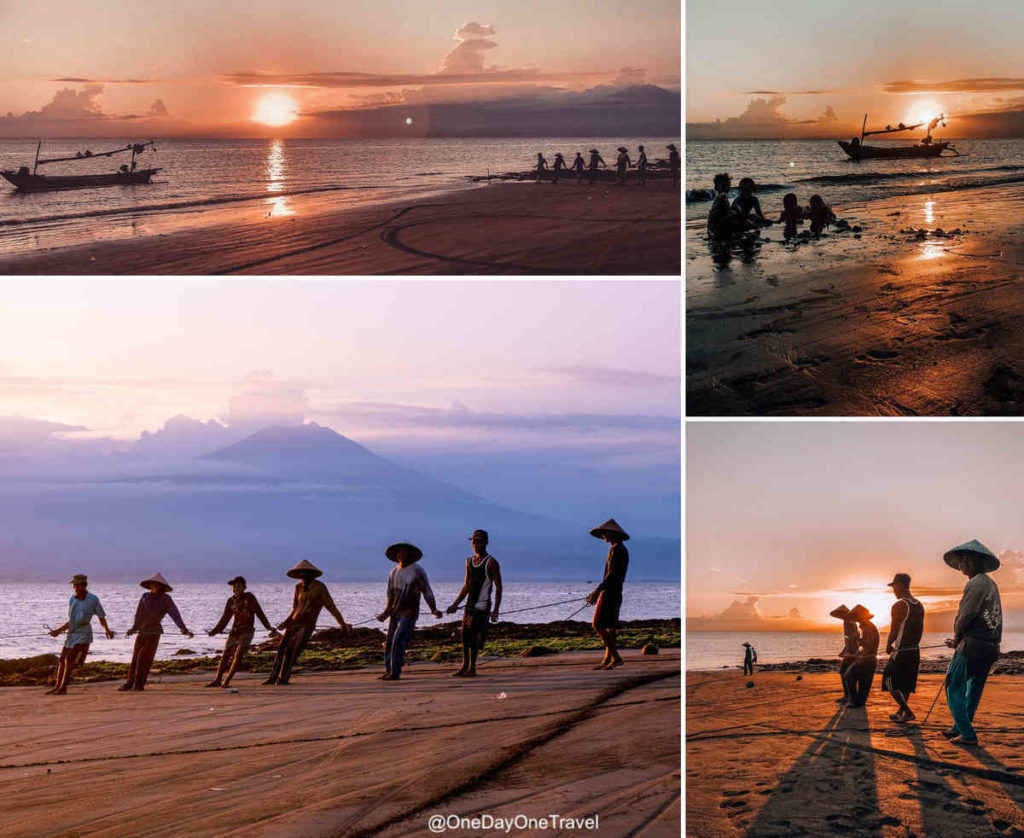 Scène authentique sur la plage de Sumbersari à Melaya dans l'ouest de Bali