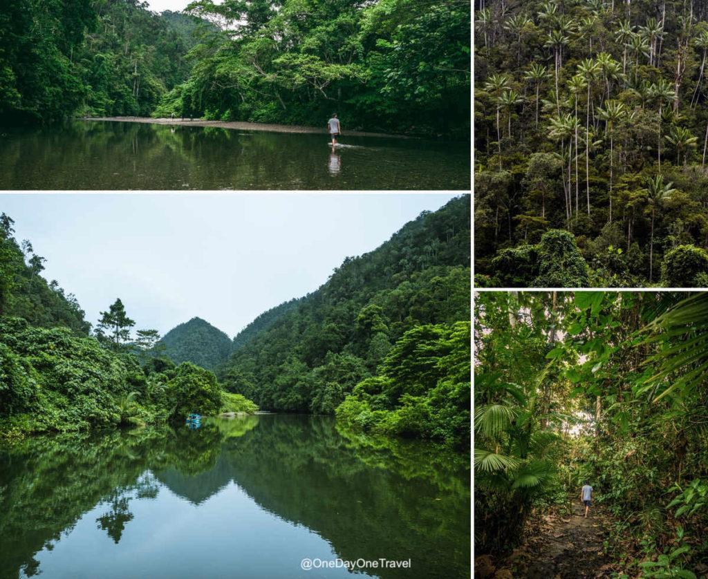 Atteindre en trek la rivière bleue de Raja Ampat