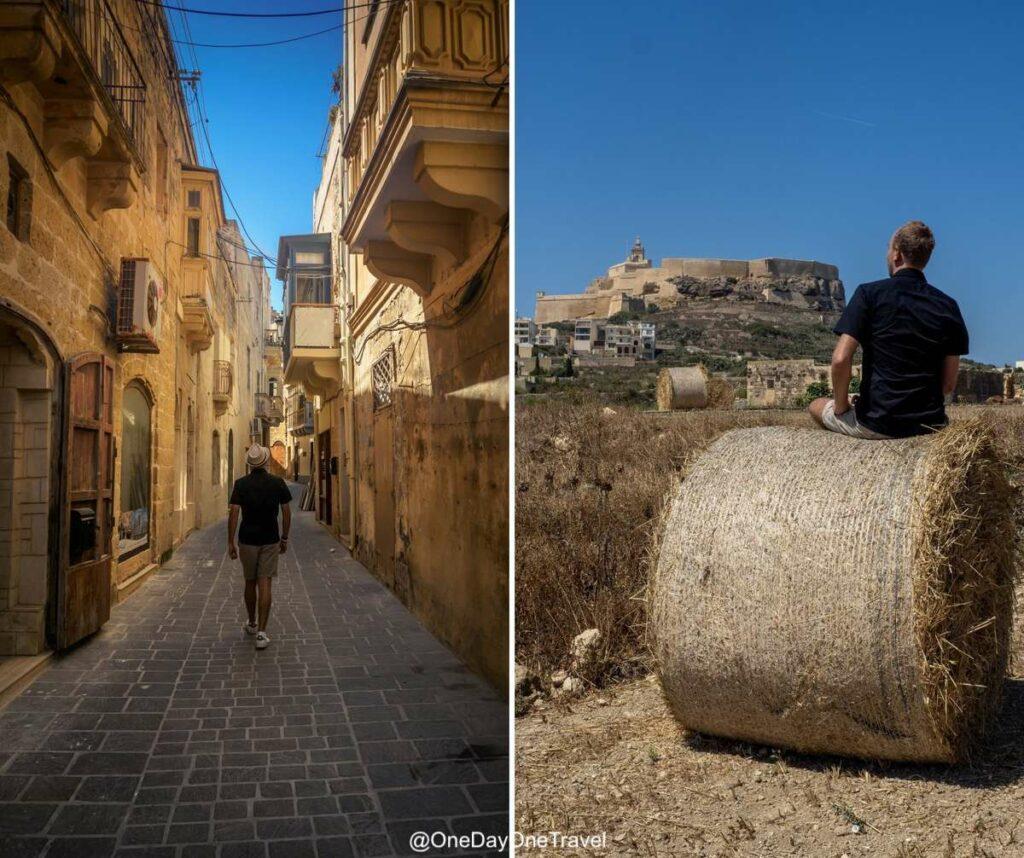 Citadelle de Gozo depuis les champs alentours et depuis les ruelles ocres de la ville historique