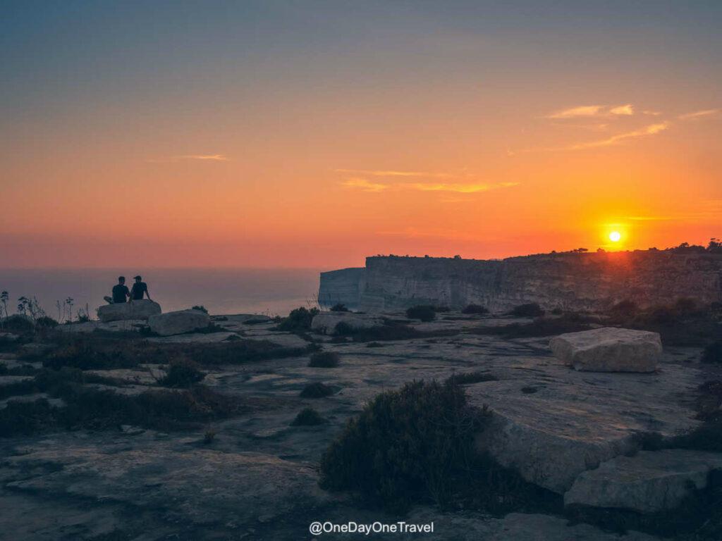 Coucher de soleil sur Gozo - Randonnée à Malte