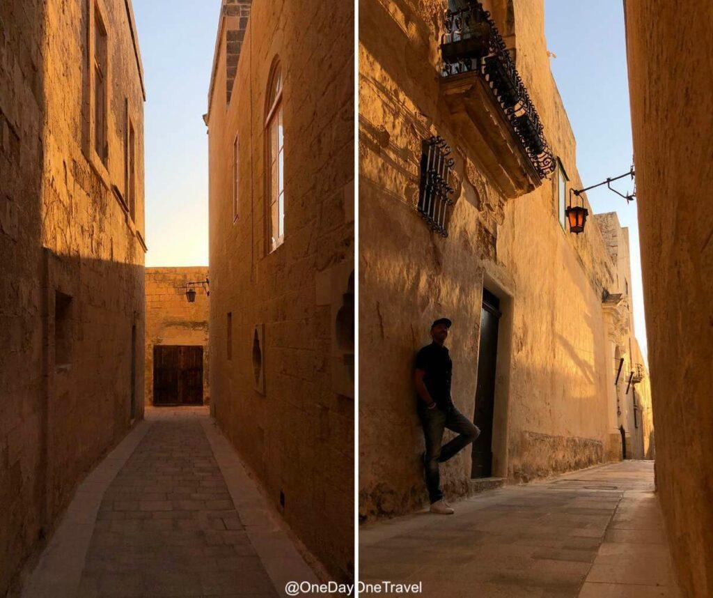 Jeux d'ombres et de lumière dans les ruelles ocres de la Mdina à Malte - Blog voyage OneDayOneTravel