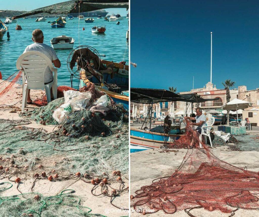 Pêcheurs et leurs filets au port de Marsaxlokk - Conseils pour visiter Malte authentique